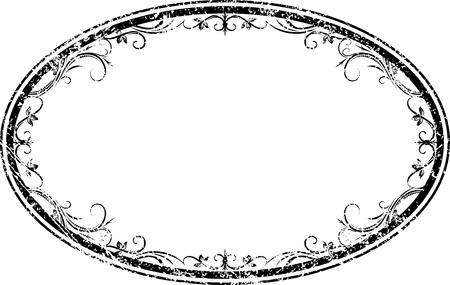 Decorative vector oval floral frame with leaves in grunge style for your design.