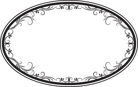 あなたのデザインのための葉と装飾ベクトル楕円形の花のフレーム。  イラスト・ベクター素材