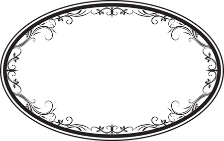 Decorative vector oval floral frame with leaves for your design.