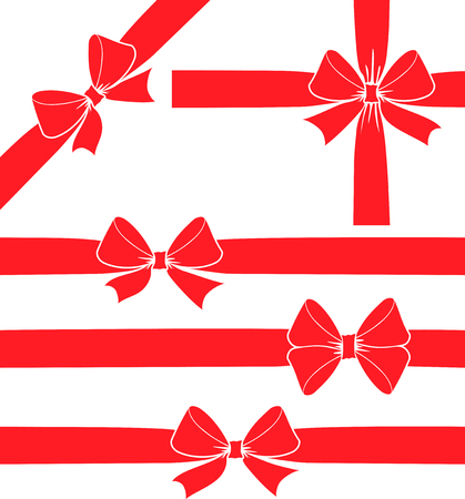 Set of five vector decorative red ribbon bow silhouettes.