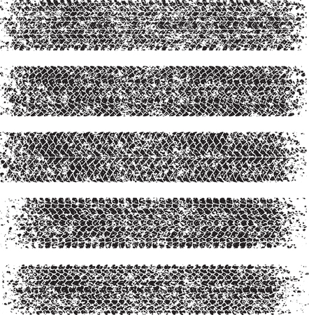 Set of five shabby, grunge style, dirty vector traces of tires. Illustration