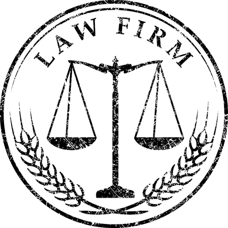 Justice scale icon with caption LAW FIRM in grunge rubber stamp style Illustration