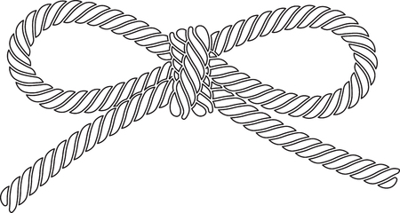 Outlined vector rope bow isolated on a white background.  Illustration