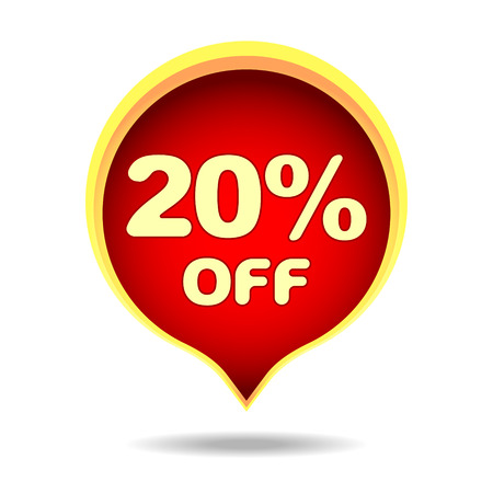 20 percent off speech bubble, sticker, label or icon with shadow for your design. Illustration