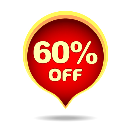 60 percent off speech bubble, sticker, label or icon with shadow for your design.