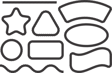 Set of 9 vector elements in the form of marine rope and empty frames.