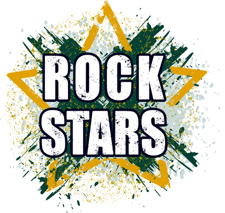 Rock stars very bright grunge design for emblem, icon or poster.