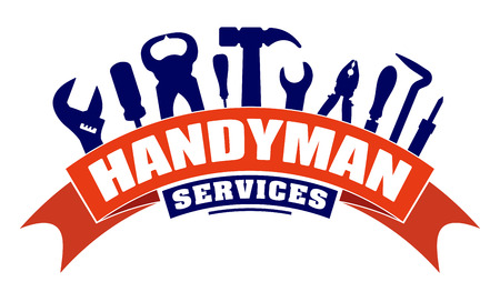 Handyman services vector design for your emblem with bend red banner and set of workers tools. There are wrench, screwdriver, hammer, pliers, soldering iron, scrap.