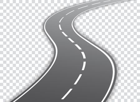 Vector winding road isolated on transparent background. Vector illustration.