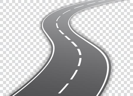 Strada tortuosa di vettore isolata su sfondo trasparente. Illustrazione vettoriale Vettoriali