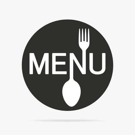 Menu round flat icon with shadow and stylized shape of fork and spoon.