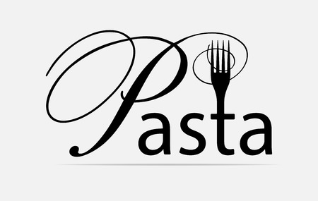 Pasta, spaghetti icon  with stylized caption pasta and shape of fork. Vector illustration isolated on a white background.