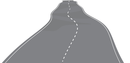 Vector illustration of winding, broken road with white marks