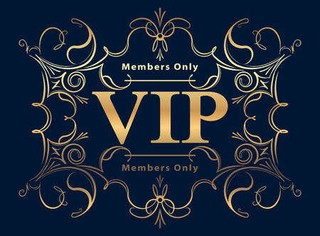 Gold rich decorated VIP design on a dark blue background.
