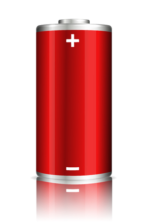 Vector full charge abstract red power battery. Realistic illustration on transparent background. Vettoriali
