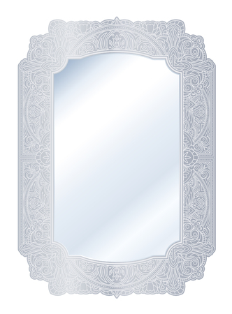 Mirror in retro vintage with ornate silver border frame. Vector illustration.
