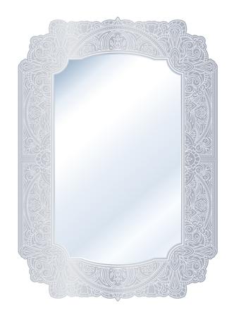 Mirror in retro vintage with ornate silver border frame. Vector illustration. Banque d'images - 96694008