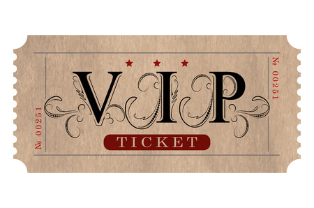 Retro styled vip ticket in black and red elegant tones.