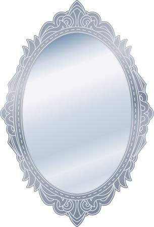 Mirror in retro vintage oval ornate silver border frame. Vector illustration. Illustration