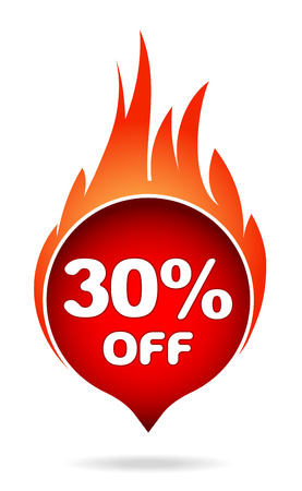 30 percent off red blazing speech bubble, sticker, label or icon with shadow and flame for your design.