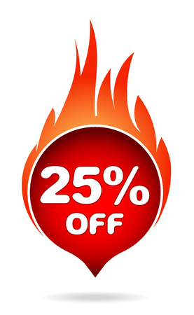 25 percent off red blazing speech bubble, sticker, label or icon with shadow and flame for your design. Vector illustration.