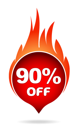 90 percent off red blazing speech bubble, sticker, label or icon with shadow and flame for your design.