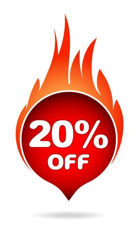 20 percent off red blazing speech bubble, sticker, label or icon with shadow and flame for your design. Illustration