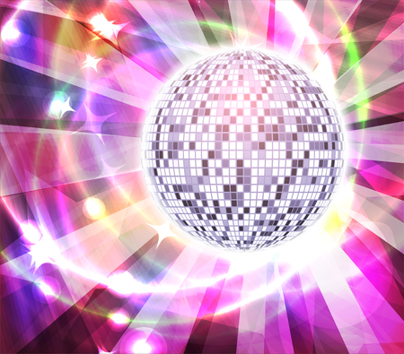 Very bright full color mirror disco ball with rays, vector illustration for your design Illustration