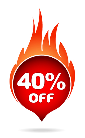 40 percent off red blazing speech bubble, sticker, label or icon with shadow and flame for your design.