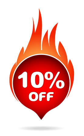 10 percent off red blazing speech bubble, sticker, label or icon with shadow and flame for your design.