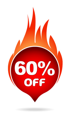 60 percent off red blazing speech bubble, sticker, label or icon with shadow and flame for your design. Vector illustration.