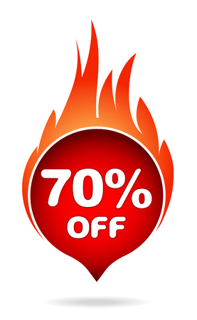 70 percent off red blazing speech bubble, sticker, label or icon with shadow and flame for your design.