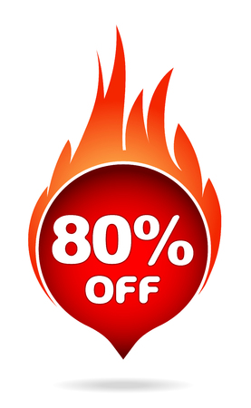80 percent off red blazing speech bubble, sticker, label or icon with shadow and flame for your design.