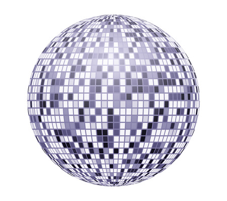 Very bright, blue mirror disco ball, vector illustration for your design.
