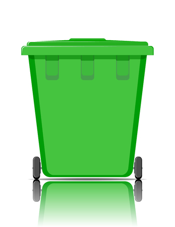 Realistic green recycle bin for trash and garbage with reflection. Vector illustration.