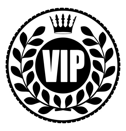 Black round VIP rubber stamp style icon with crown and wreath of laurel leaves Illustration