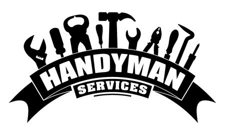 Złota rączka usługi wektor projekt dla twojego logo lub godła z banerem zakrętu i zestawem narzędzi pracowników w kolorze czarnym. Jest klucz, śrubokręt, młotek, szczypce, lutownica, złom.