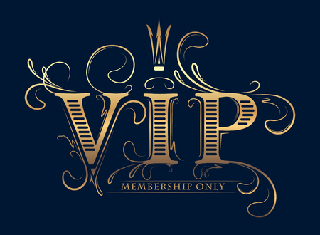 Rich decorated VIP membership only gold card with crown on a dark blue background.
