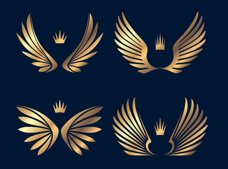 Set of four pairs of gold wings with crowns. Vector illustration.