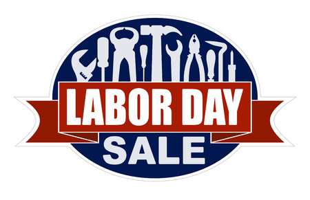 Labor day sale banner with silhouettes of workers tools: hammer, screwdriver, pliers, file, soldering iron, pliers, awl Vector illustration. 일러스트
