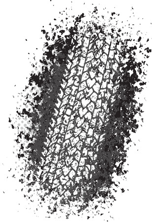 Vector trail design trace of the tyre in grunge style Illustration
