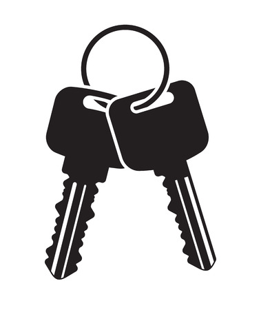 Pair of vector keys with ring. Black flat icon for your design.