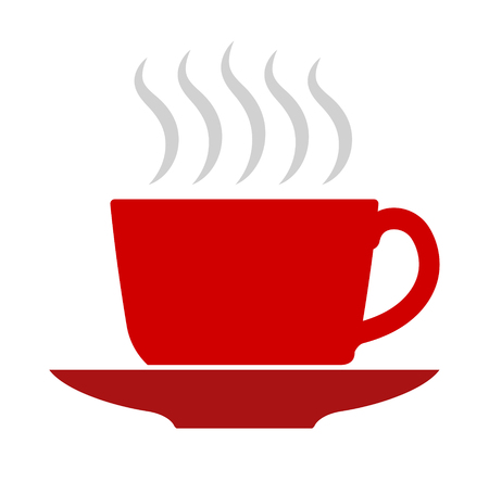Vector flat illustration, red coffee or tea cup icon.