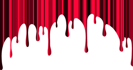 Unusual red  paint drips with vertical tone stripes. Vector illustration for your design. Ilustração