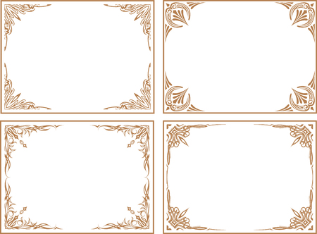 Set of four classic vector frames in brown gamma.