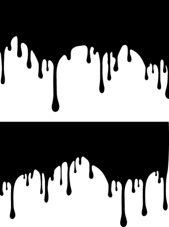 Pair of black paint drips. Vector illustration for your design. Illustration