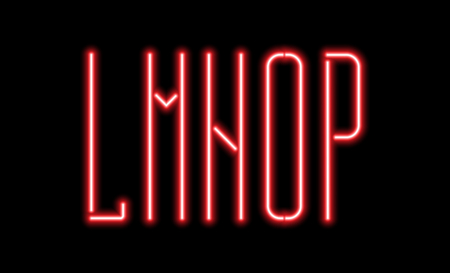 Bright red neon letters on a black background. Letters L, M, N, O, P for night club or night show design.