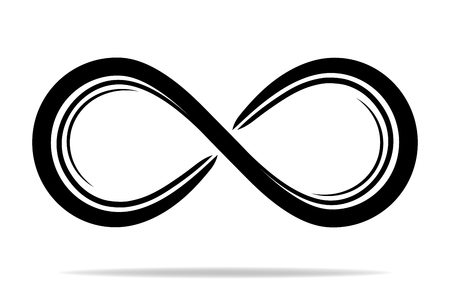 Flat icon of infinity symbol with shadow. Vector design.