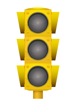 Realistic illustration of modern yellow led traffic light with switching off lights.
