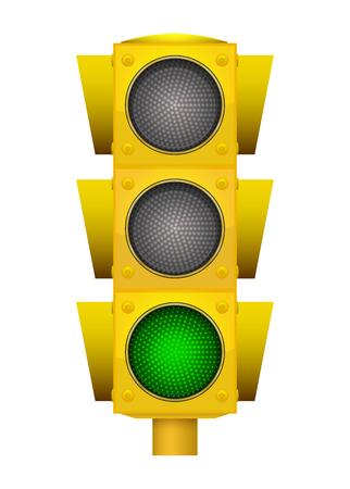 Realistic illustration of modern yellow led traffic light with switching on green light. Illustration